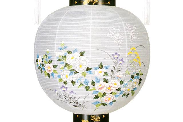 盆提灯 吊提灯 蒔絵 絵入 御殿丸(8001-11-101e)